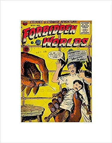 SUPER HERO COVER ACG BOOK FORBIDDEN WORLDS 54 VINTAGE COMIC FRAMED PRINT B12X420