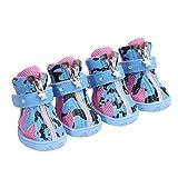 Kuncg Einzel Bandagen Pfotenschutz Hundestiefel Schutz und Mesh Atmungsaktive Weiche Milch Streifen Beiläufig Kleine Hund Schuhe Blau 5