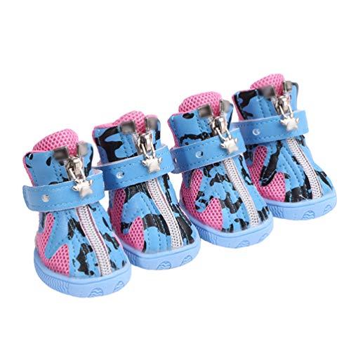 Kuncg La Pata Protege Botas para Perros De Protección Y Malla Transpirable Suave Raya De Leche Casual Pequeños Zapatos para Perros Azul 3