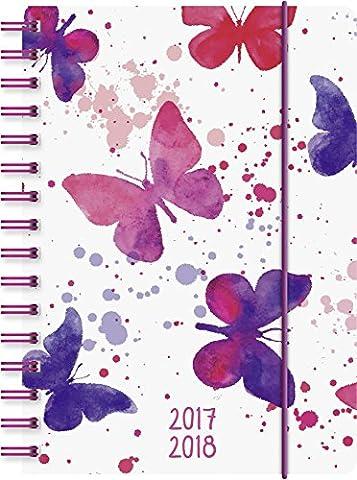 Brunnen Agenda scolaire, 1jour sur 1page, Calendrier: Août 2017à juillet 2018, 352pages (Français non garanti) Couverture en polypropylène - 1 page par jour motif papillons