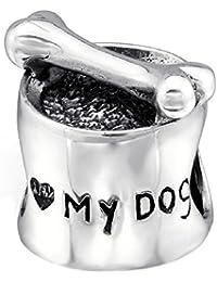 So Chic Joyas - Abalorio Charm recipiente para perros Huesos y Croquetas de texto I Love My Dog Corazón - Compatible con Pandora, Trollbeads, Chamilia, Biagi - Plata 925