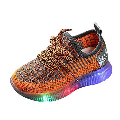 Igemy Kids Trainers Lights, LED Light up Shoes Kids Toddler Student Mesh Breathable Luminous Sneakers Lace up Atheletic Trainers Flashing Outdoors Casual Shoes