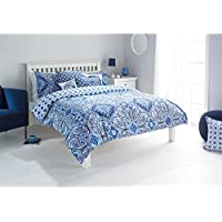 """Riva Paoletti Ionia Double Duvet Cover Set - Indigo Blue and White - Bohemian Moroccan Inspired Pattern - 2 x Housewife Pillowcase - PolyCotton - Machine Washable - 137 x 200cm (54"""" x 79"""" inches)"""