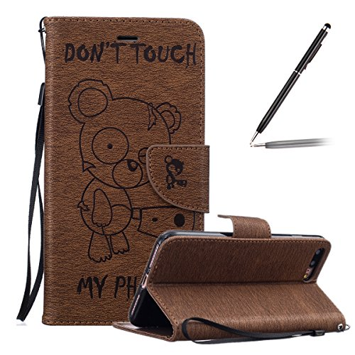 Cover iPhone 7 Plus in Pelle,iPhone 7 Plus Custodia Portafoglio,Felfy Elegante Farfalla Rose Fiori Painting Tinta Unita PU Leather Wallet Portafoglio Pelle Libro Stand Flip Custodia Cover per Apple iP Orso Caffè