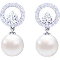 Clara 92.5 Sterling Silver Swiss Zirconia Pearl Earrings Gift for Women and Girls