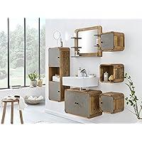 Woodkings® Badmöbel Set Dingle Holz Pinie Rustikal Und Betonoptik Grau  Badmöbel Hängend Für Kleines Bad