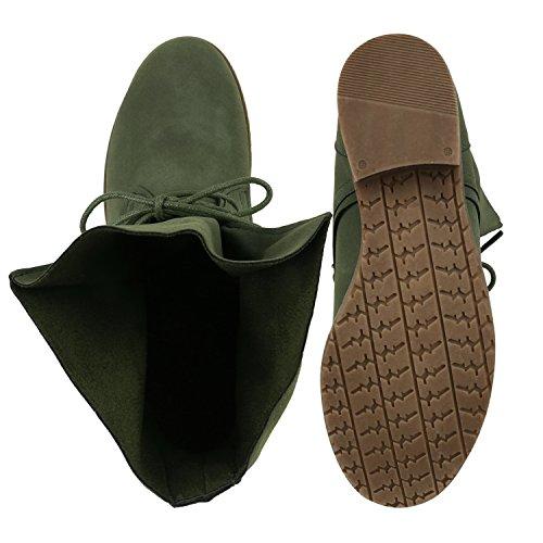 Stiefelparadies Damen Schuhe Desert Boots Schnürschuhe Camouflage Stiefeletten Leder-Optik Blockabsatz Booties Muster Flandell Dunkelgrün All