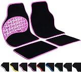 WOLTU Universal Auto Fußmatten Set Teppich & PVC Rutschfest Schwarz/Rosa AM7151