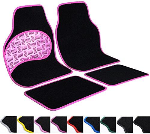 Eugad 0033qcjd tappetini per auto in tessuto cuciture di pvc universali,antiscivolo,design 4 pezzi rosa
