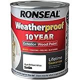 Ronseal RSLWPPBWS750750ml Résistant aux intempéries Peinture bois extérieur–Blanc brillant/satin
