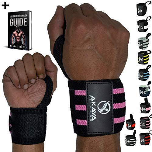 AKAYA Handgelenk Bandagen + Gratis eBook & Anleitung   Wrist Wraps 45 cm Länge   Handgelenkbandage für Fitness, Kraftsport, Bodybuilding & Crossfit - für Frauen und Männer geeignet   Schwarz/Pink -