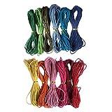 F Fityle 12 Colores 12mmx10m Cuerda Hilo de Algodón Encerado Cordón para Collar Pulsera Abalorios de Joya Bricolaje
