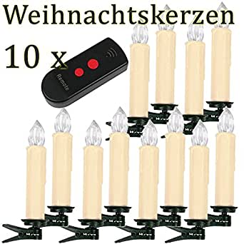 sunjas 10 set warmweiss led kerzen lichterkette kabellos funk fernbedienung christbaumsdeko. Black Bedroom Furniture Sets. Home Design Ideas