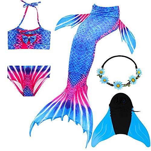 Meerjungfrauenschwanz Badeanzug,Bikini Set Zum,Cosplay KostüM Mit Meerjungfrau Flosse BadeanzüGe Prinzessin StüCk MäDchen Badebekleidung Schwanz(3-12Year),b,1409/10yearold