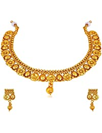 Amaal One Gram Pearl Gold Traditional Wedding Stylish Necklace Jewellery Sets With Earrings For Women/Girls -JSA046