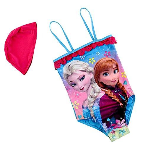 Taglia 10-4-5 Anni - Costume da Bagno - Elsa & Anna - Adatto a Bambina - Colore Azzurro - Intero con Cuffia