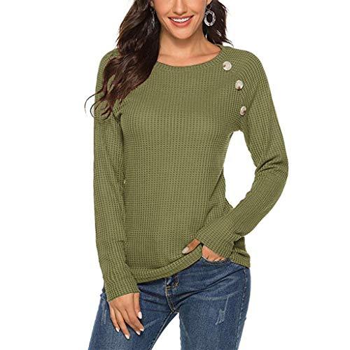 Lazzboy Langarmshirt Damen Langarm O-Neck Buttons Solid Shirt Tunika Bluse Tops Loose Lässige Schaltflächen Hemd Einfarbig Rundhals T-Shirt Mit Taschen(Armeegrün,XL)