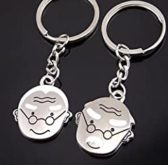 Idea Regalo - Ulooie creative metal nonno nonna a forma di coppia auto portachiavi borsa ciondolo portachiavi per regali creativi