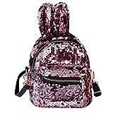 Sequin Rucksack Glitter Umhängetasche Multi Usage Zipper Mit Netten Ohren Schulranzen Für Frauen Mädchen (Rosa)
