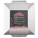 Soledi Grill Basket Professional Grade 430 Stainless Steel Wok, Meat Grilling Basket, BBQ, Barbecue, Veggie, Fish, Quesadilla, Shrimp, Corn, Kabob