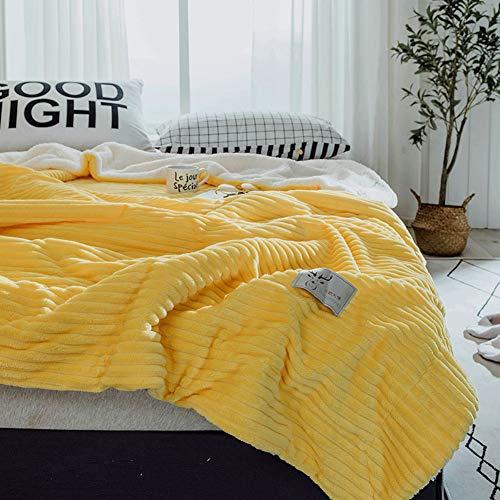 n Reversible Kuscheldecke, Fleece Decke Doppelseitige Faux schaffell Gesäumten Gemütliche Baumwolle Für Couch-Bett-Sofa-Gelb 200x230cm(79x91inch) ()