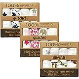 4x quschel® Mulltuch / Schnuffeltuch / Mullwindel / Spucktuch pink & grau 65x65cm aus 100% Bio-Baumwolle, GOTS zertifiziert