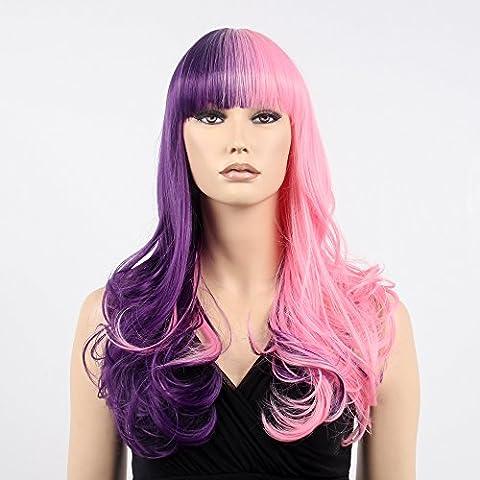 stfantasy Perücken für Frauen Lang Gewellt hitzbeständige Kunsthaar 48,3cm 196g mit Pony Wig peluca frei Hair Net + Clips, deep purple pink
