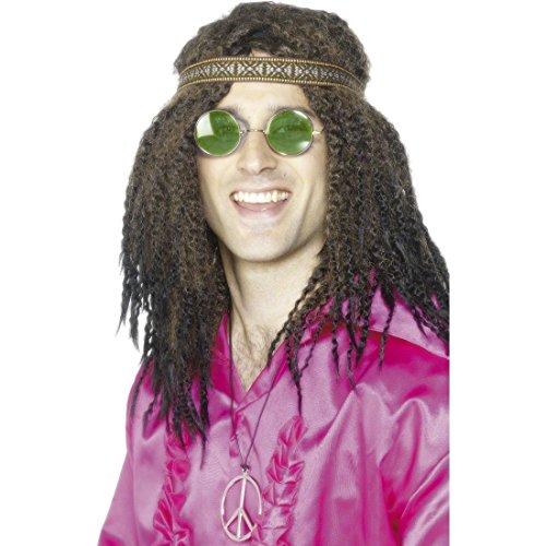 Hippie Kostüm Set 70er Jahre Brille, Stirnband und Kette Schlager Verkleidung Hippieset Flower Power Accessoires Faschingskostüm Zubehör