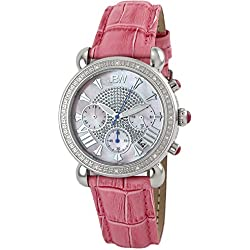 """Just Bling Ladies JB-6210L-E """"Victory Pink Pearl"""" Stainless Steel rosa Leder Diamond Watch"""