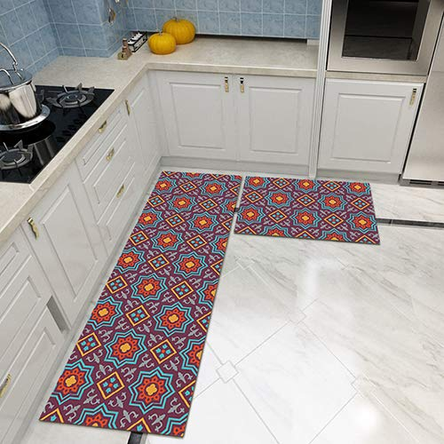 HYRL Anti-Fatigue Kita-Teppiche Non Slip Rubber Backing Carpet Comfort Mats Cushioned Kitchen Floor Mats und Runner Set,2Pcs,#8