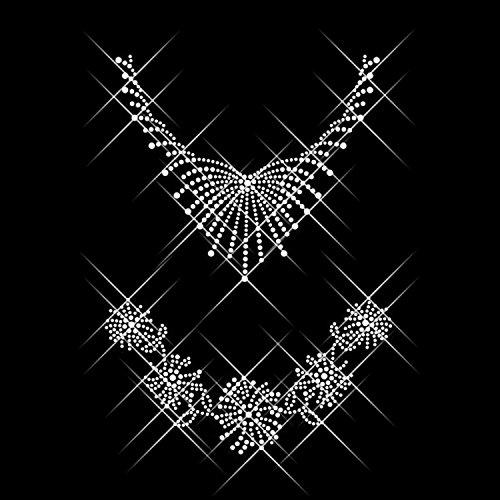 Luxflair Strassstein 2X Halskette/Collier, XXL Strass Bügelbild/Bügelmotiv ca. 25,4 x 17,8cm inkl. Anleitung zum einfachen Veredeln von Textilien