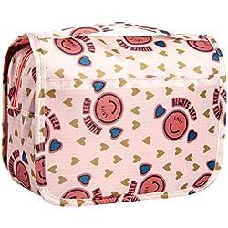 Trousse de Toilette Sac Cosmétique Trousse Maquillage Sac de Toilette Trousse de Voyage Grande Pliable Multifonction Étanche Compact Oxford avec Crochet Suspendu,Compartiments de Hmjunboys (Rosé)