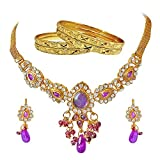 Surat Diamonds Gold Plated Necklace,Bangle Set ,Dangle & Drop Earring For Women -White, Purple & Gold