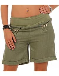 malito Pantalón cortos de Tela de Lino en élastico Cintura del Pantalón 6822 Mujer