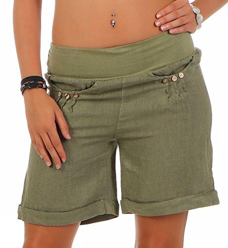 Malito Damen Bermuda aus Leinen | lässige Kurze Hose | Shorts für den Strand | Pants - Hotpants 6822 (Oliv, M) - Grün Panty Kurz