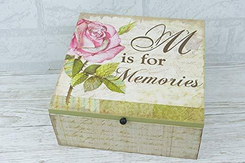 bellas direct Global Designs souvenir mémoire Box Coffre en bois Embouts et pièces de Motif rose Sg1314