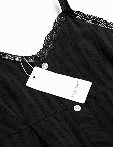 Ekouaer Damen Sleepwear Nachtwäsche Negligee Ärmellos Spitze Kurz Nachthemd Nachtkleid Rückenfrei Verstellbare Träger Lingerie Schwarz