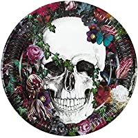 Talking Tables Baroque Skeleton Paper Plates for Halloween Party, 24cm (8 Pack in 1 design)