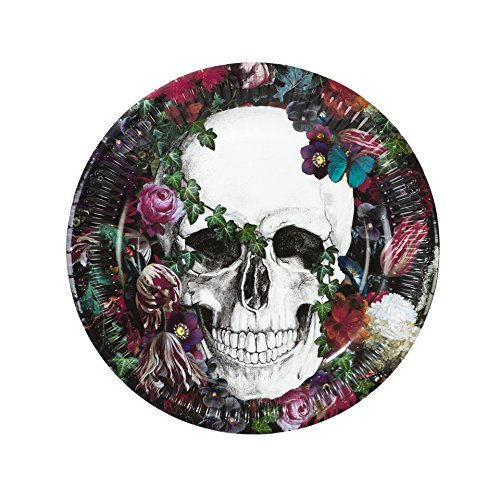 Talking Tables BQSKEL-Plate Skeleton Baroque Assiette pour Fêtes d'halloween Papier, Multicolore, 0,23 x 0,23 x 0,02 cm
