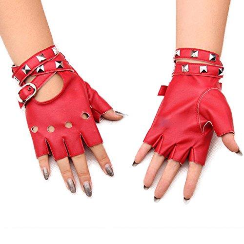 Homedecoam Damen Punk Rock Fingerlose Gothic PU Leder Handschuhe für Cosplay Kostüm Fahrrad Sports Handschuhe mit Nieten - Leder Rot Handschuhe Fingerlose