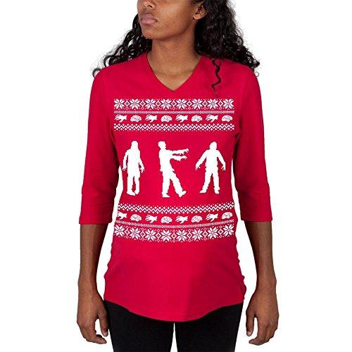 3/4 Ärmel Mutterschaft T-shirts (Zombie hässlich Christmas Sweater rot Mutterschaft 3/4 Ärmel T-shirt - X-Large)