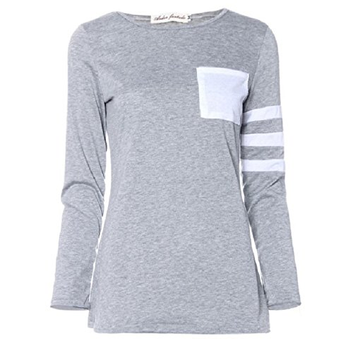 OVERDOSE Frauen Langarm Rundhals Splice-Hemd-Bluse Tops T-Shirt Grau