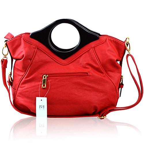 Handtasche Einkaufstasche Schultertasche Rot Rot Leder Crossbody Tragetaschen Tasche PU Hochzeit KAXIDY Blumentasche Rose BIwUTqBZ