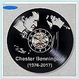 NIGHT BLACK der Film Kunst 3D Wanduhr Band Schwarz Vinyl Record Design Wandaufkleber Dekoration für Zuhause, aGift Für Kinder, Mann