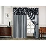 "Half Flock with Plain Design Ready Made Pencil Pleat Curtains - Grey Black (90""W x 90""L (228cm x 228cm))"