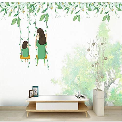 Zybnb Benutzerdefinierte Tapeten Für Wände 3D Cartoon Green Leaf Foto Kinder Wandbild Für Kinder Wohnzimmer Schlafzimmer Tapeten Wohnkultur-350X250Cm