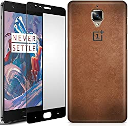 Case U® OnePlus 3 Case / OnePlus 3T Case + Free Full Coverage Edge-to-Edge Tempered Glass, CASE U OnePlus Logo in Printed Leather Designer Premium PolyCarbonate Back Cover for OnePlus 3