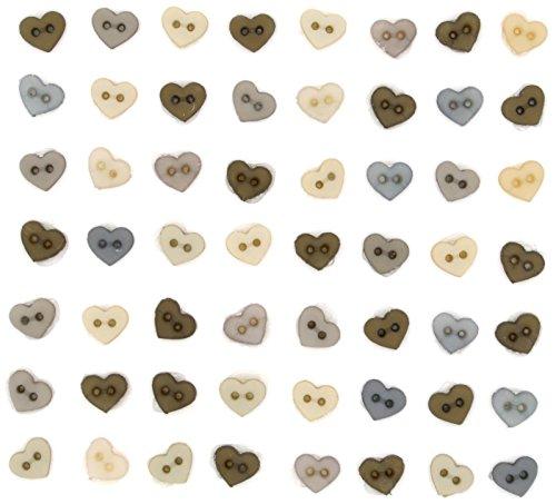 Jesse James Dress It Up kleine Herzen Vintage Knopf, Kunststoff, braun/beige, 10x7.5x2 cm, 50-Einheiten -