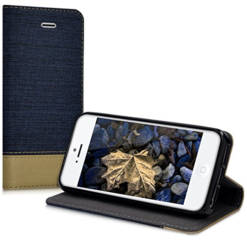 kwmobile Hülle für Apple iPhone SE / 5 / 5S - Bookstyle Case Handy Schutzhülle Textil mit Kunstleder - Klapphülle Cover Altrosa Braun .Dunkelblau Braun