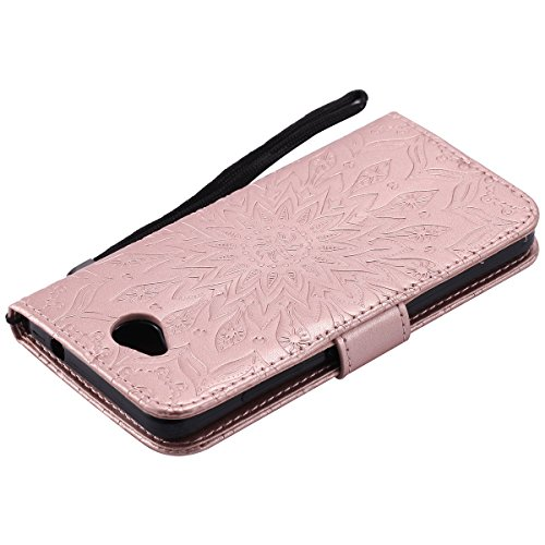 Custodia Microsoft Lumia 650 ISAKEN Cover Nokia N650 con Strap, Elegante borsa Farfalla Design in Pelle Sintetica Ecopelle PU Case Cover Protettiva Flip Portafoglio Case Cover Protezione Caso con Supp girasole: rose gold